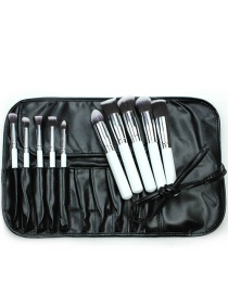 Fashion White+silver Color Color Matching Decorated Cosmetic Brush(10pcs With Bag)