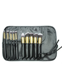 Fashion Black+gold Color Color Matching Decorated Cosmetic Brush(10pcs With Bag)