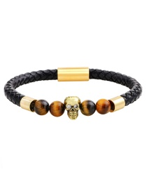 Fashion Brown+gold Color Skull&beads Decorated Simple Bracelet