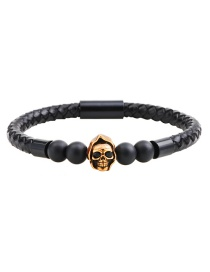 Fashion Black+gold Color Skull&beads Decorated Simple Bracelet