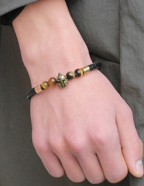 Fashion Gold Color+brown Helmet Shape Decorated Beads Bracelet