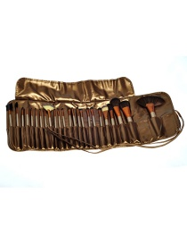 Fashion Gold Color Flat Shape Decorated Cosmetic Brush(24pcs With Bag) )