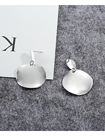 Fashion Silver Color Pure Color Design Round Shape Earrings