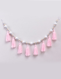 Fashion White+gray Tassel&beads Decorated Ornament