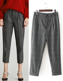 Fashion Gray Grid Pattern Decorated Long Pants