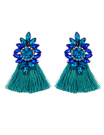 Fashion Dark Green Diamond Decorated Tassel Earrings