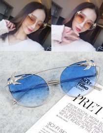 Fashion Blue Swallows Decorated Oval Shape Sunglasses