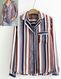 Elegant Multi-color Color-matching Decorated Shirt