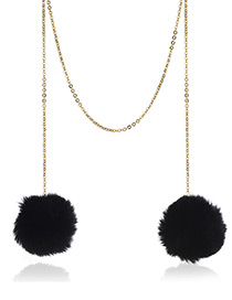 Fashion Black Pure Color Decorated Pom Necklace
