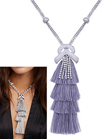 Bohemia Gray Tassel Decorated Necklace