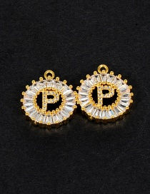 Fashion Gold Color P Letter Shape Decorated Pendant (1pc)