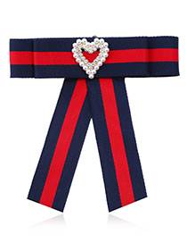 Fashion Red+navy Heart Shape Decorated Bowknot Brooch