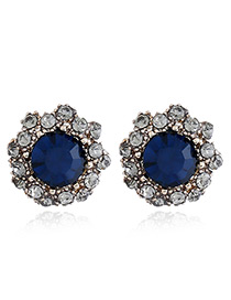 Vintage Blue Round Shape Decorated Earrings