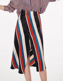 Fashion Multi-color Stripe Shape Decorated Dress