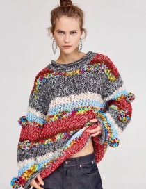 Fashion Multi-color Color-matching Decorated Sweater