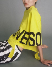 Fashion Yellow Letter Decorated Blouse