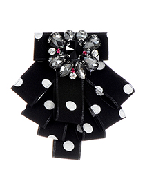 Elegant Black Dot Shape Decorated Brooch