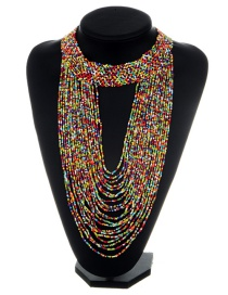 Fashion Multi-color Bead Decorated Necklace