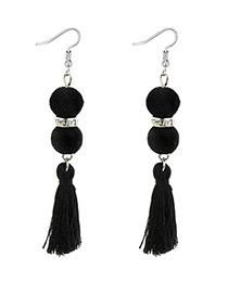Bohemia Black Fuzzy Ball Decorated Tassel Earrings