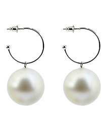 Elegant White Round Shape Decorated Opening Earrings