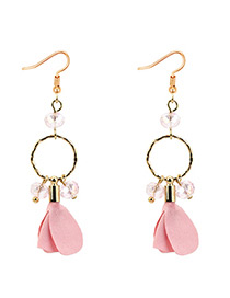 Elegant Pink Petal Shape Decorated Earrings