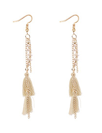Bohemia Beige Pure Color Decorated Tassel Earrings