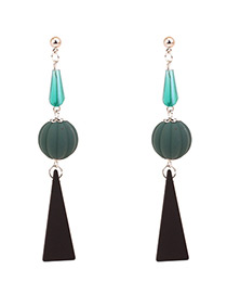 Fashion Green Round Ball Decorated Long Earrings