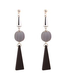 Fashion Gray Round Ball Decorated Long Earrings