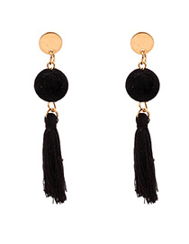 Personalized Black Fuzzy Ball Decorated Pom Earrings