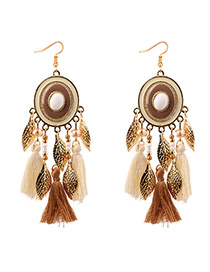 Bohemia Light Coffee Round Shape Decorated Tassel Earrings