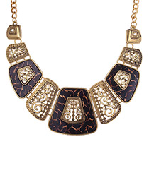 Exaggerated Brown Square Shape Decorated Necklace