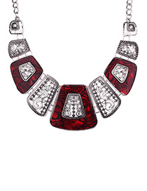 Exaggerated Red Square Shape Decorated Necklace