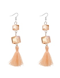 Elegant Gold Color Diamond Decorated Tassel Earrings