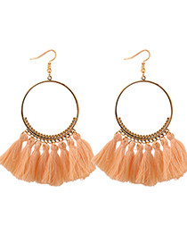 Elegant Orange Circualr Ring Decorated Tassel Earrings