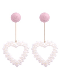 Lovely Pink Hollow Out Heart Shape Decorated Earrings