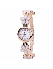 Fashion White Flowers Decorated Simple Watch