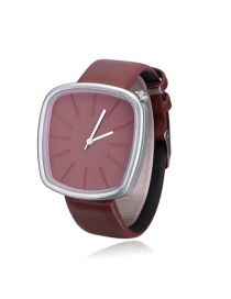 Elegant Brown Square Shape Dial Design Watch
