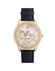 Fashion Black Owla&trees Pattern Decorated Watch