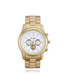 Elegant White Letter Pattern Decorated Simple Watch
