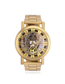 Elegant Gold Color Hollow Out Design Simple Watch