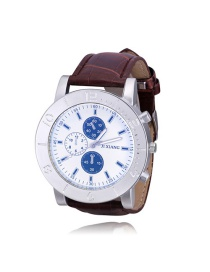 Elegant Brown Three Dials Pattern Decorated Sports Watch