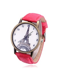 Vintage Red Tower Pattern Decorated Round Dial Watch