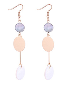 Elegant Gold Color+white Round Shape Decorated Long Earrings