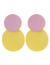 Elegant Pink+yellow Color Matching Decorated Round Shape Earrings