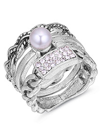 Fashion Silver Color Pearl&diamond Decorated Ring Sets(3pcs)