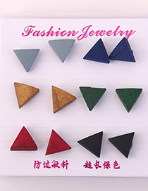 Elegant Multi-color Triangle Shape Design Color Mathcing Earrings(6pcs)