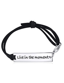 Elegant Silver Color+black Square Shape Design Multi-layer Bracelet