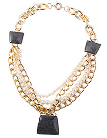 Fashion Black Trapezoid Shape Decorated Pearls Necklace