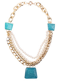 Fashion Blue Trapezoid Shape Decorated Pearls Necklace