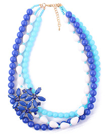 Fashion Blue Flower Decorated Multi-layer Necklace